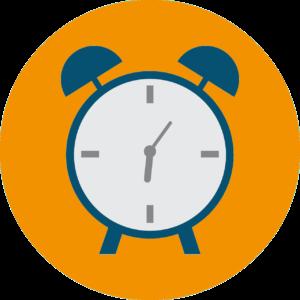 pictogramme réveil orange et bleu